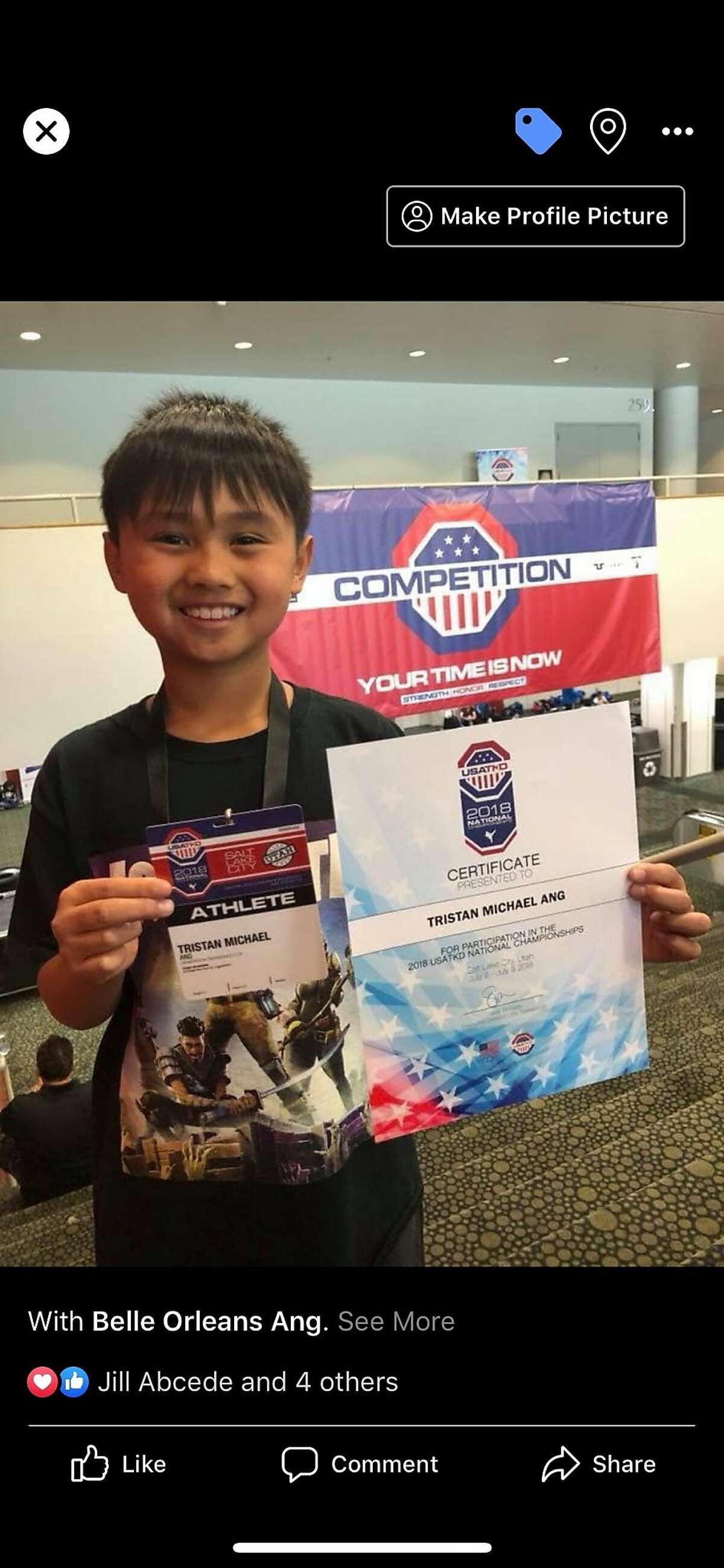 Tristan Ang, 9, of Milpitas.