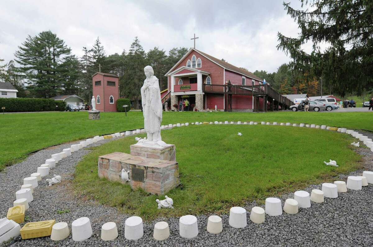 A view of a statue of Kateri Tekakwitha at the National Kateri Shrine on Sunday, Oct. 21, 2012 in Fonda, NY. (Paul Buckowski / Times Union)