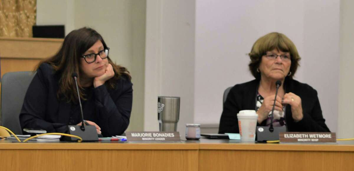 Hamden Councilwoman Elizabeth Wetmore, right and Councilwoman Marjorie Bonadies, left