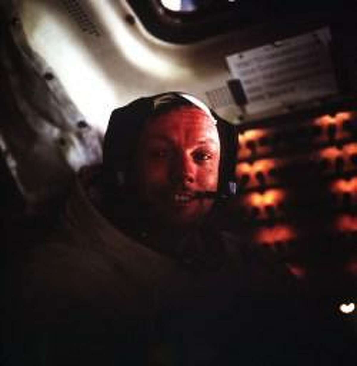 Neil A. Armstrong, Apollo 11 commander, photographed in the Lunar Module while it rested on the lunar surface.