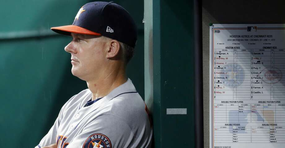 PHOTOS: Astros game-by-game Houston Astros manager AJ Hinch looks on from the dugout in the fifth inning of a baseball game against the Cincinnati Reds, Monday, June 17, 2019, in Cincinnati. (AP Photo/John Minchillo) Browse through the photos to see how the Astros have fared in each game this season. Photo: John Minchillo/Associated Press
