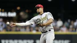 Oakland Athletics second baseman Franklin Barreto in action against the Seattle Mariners in a baseball game Friday, July 5, 2019, in Seattle. (AP Photo/Elaine Thompson)