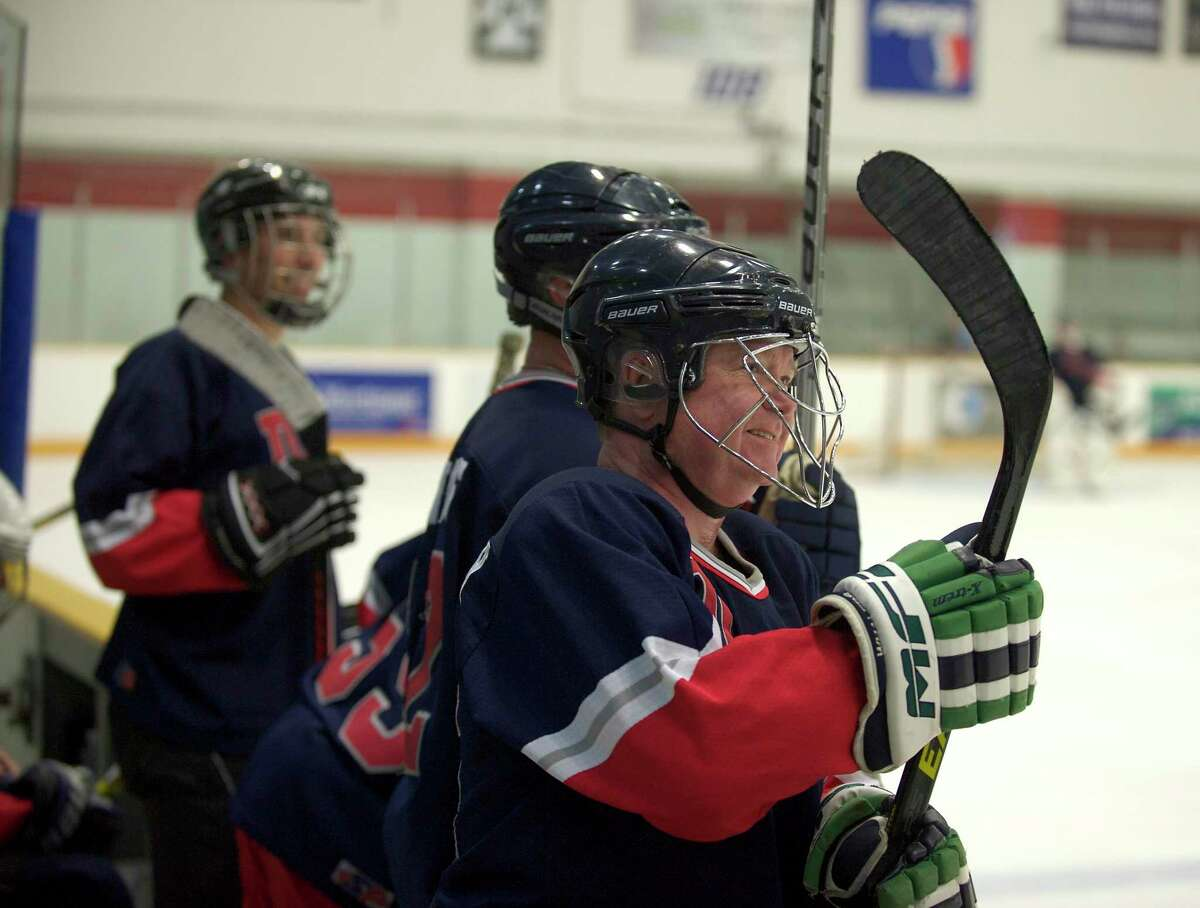 John Krupinsky of the Danbury Police Department watches the action during the 10th annual Danbury Police vs. Fire charity hockey game on June 23, 2013.