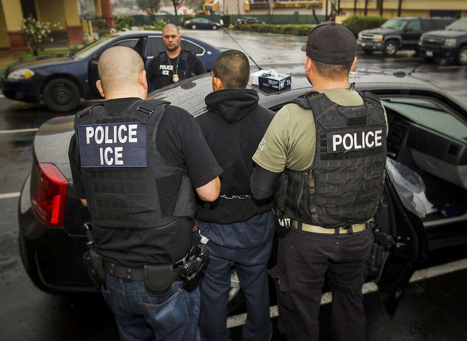 In this Tuesday, Feb. 7, 2017, photo released by U.S. Immigration and Customs Enforcement, foreign nationals are arrested during a targeted enforcement operation conducted by U.S. Immigration and Customs Enforcement (ICE) in Los Angeles. (Charles Reed/U.S. Immigration and Customs Enforcement via AP, File) Photo: Charles Reed, Associated Press