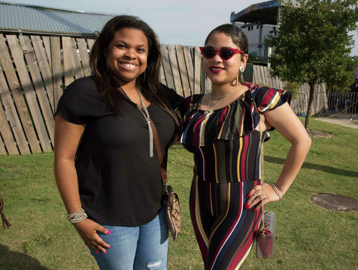 Fans of 21 Savage pose for a photograph before concert atWhite Oak Music Hallon Friday, July 12, 2019, in Houston.