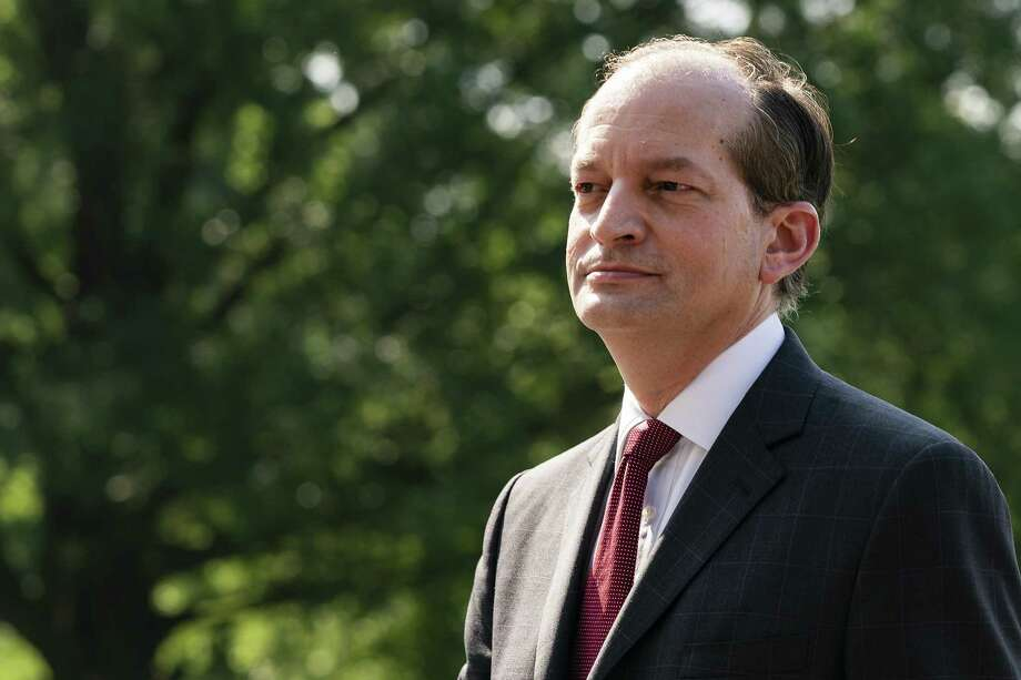 Alex Acosta, U.S. Secretary of Labor, stands after announcing his resignation in Washington, D.C., U.S., on Friday, July 12, 2019. Acosta leaves after heightened scrutiny of his handling of sexual misconduct charges againstA Jeffrey EpsteinA following the announcement of the financier's indictment on Monday. Photographer: Alex Edelman/Bloomberg Photo: Alex Edelman / © 2019 Bloomberg Finance LP