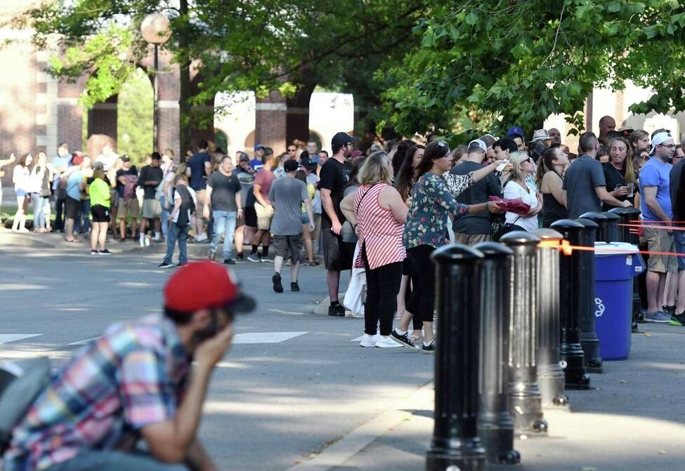 Attendees wait in line for the gates to open before the Dave Matthews Band Concert on Friday, July 12, 2019 at SPAC in Saratoga Springs, NY. (Phoebe Sheehan/Times Union)