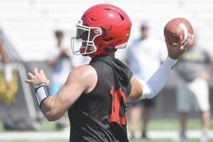 New Canaan quarterback Drew Pyne throws a pass during the annual Grip It and Rip It football tournament at New Canaan High School on Friday, July 12, 2019.
