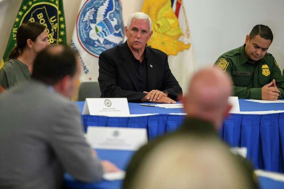 Vice President Pence and Republican members of the Senate Judiciary Committee participate in a roundtable discussion at the Customs and Border Protection station in McAllen, Texas, on Friday. Photo: Washington Post Photo By Carolyn Van Houten. / The Washington Post