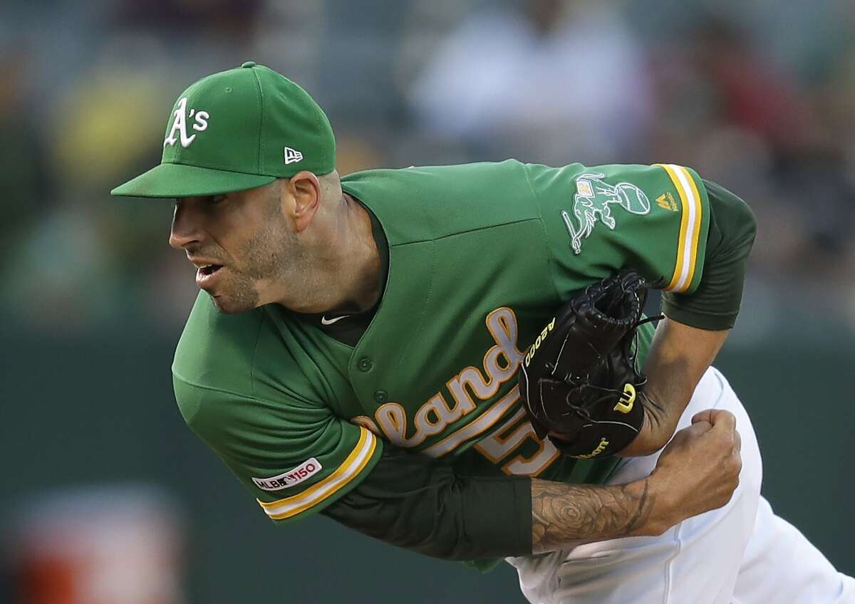 Oakland Athletics pitcher Mike Fiers works against the Chicago White Sox in the first inning of a baseball game Friday, July 12, 2019, in Oakland, Calif. (AP Photo/Ben Margot)