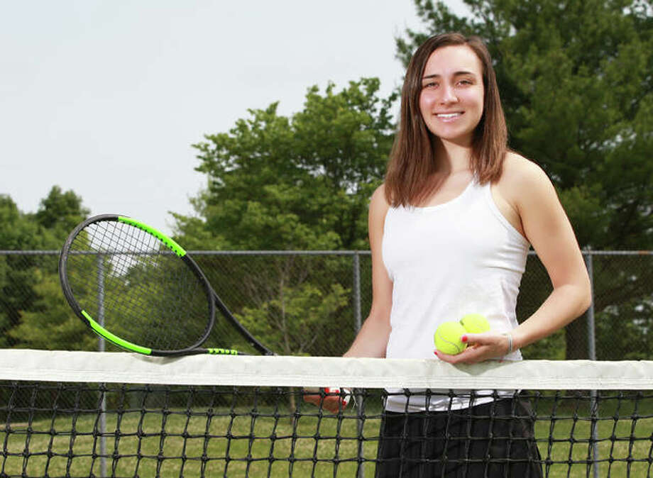 Edwardsville's Natalie Karibian is the 2018 Telegraph Girls Tennis Player of the Year. Karitian also won the award the previous year as a junior. Photo: Billy Hurst / For The Telegraph