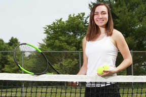 Edwardsville's Natalie Karibian is the 2018 Telegraph Girls Tennis Player of the Year. Karitian also won the award the previous year as a junior.
