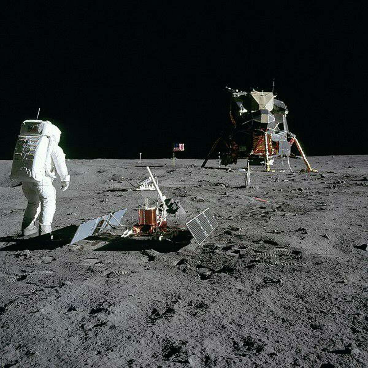 Astronaut Buzz Aldrin on the Moon during the Apollo 11 mission.