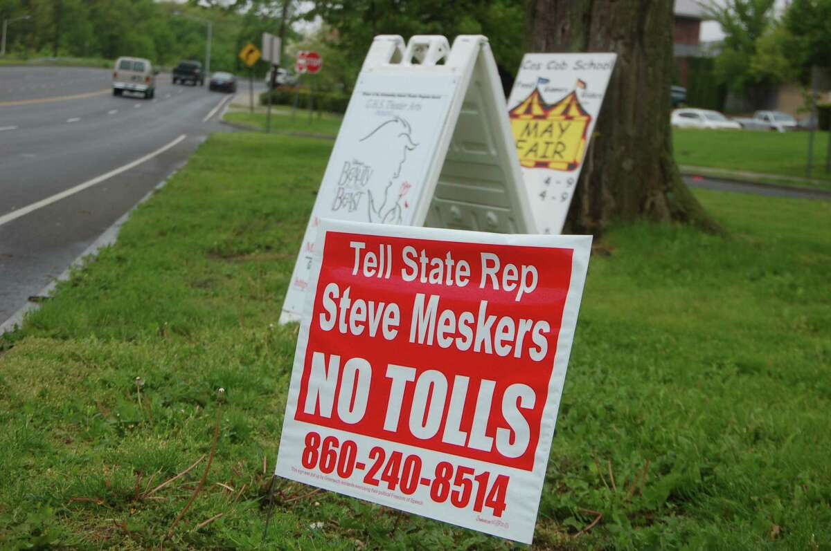 """Signs have popped up around Greenwich urging anti toll residents to call up Rep. Stephen Meskers and Sen. Alex Bergstein before a state toll vote. But so far the signs have not managed to have much impact. The signs are being paid for by an unnamed group of town residents """"exercising their political free speech."""""""
