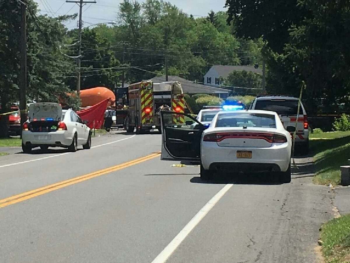 Colonie police investigate an apparently fatal crash on Watervliet Shaker Road Saturday, July 13, 2019.