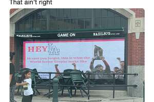 A sports bar outside Fenway Park trolled the Dodgers ahead of their World Series rematch.