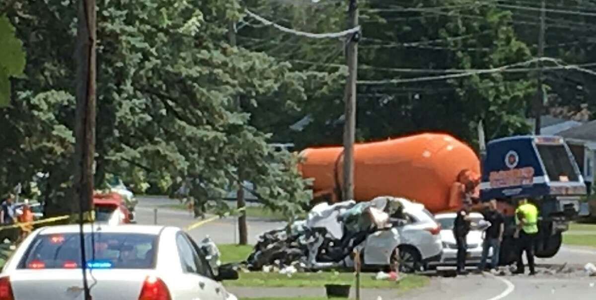An SUV, a sedan and a cement mixer were involved in this deadly crash on Saturday July 13, 2019, in Colonie.