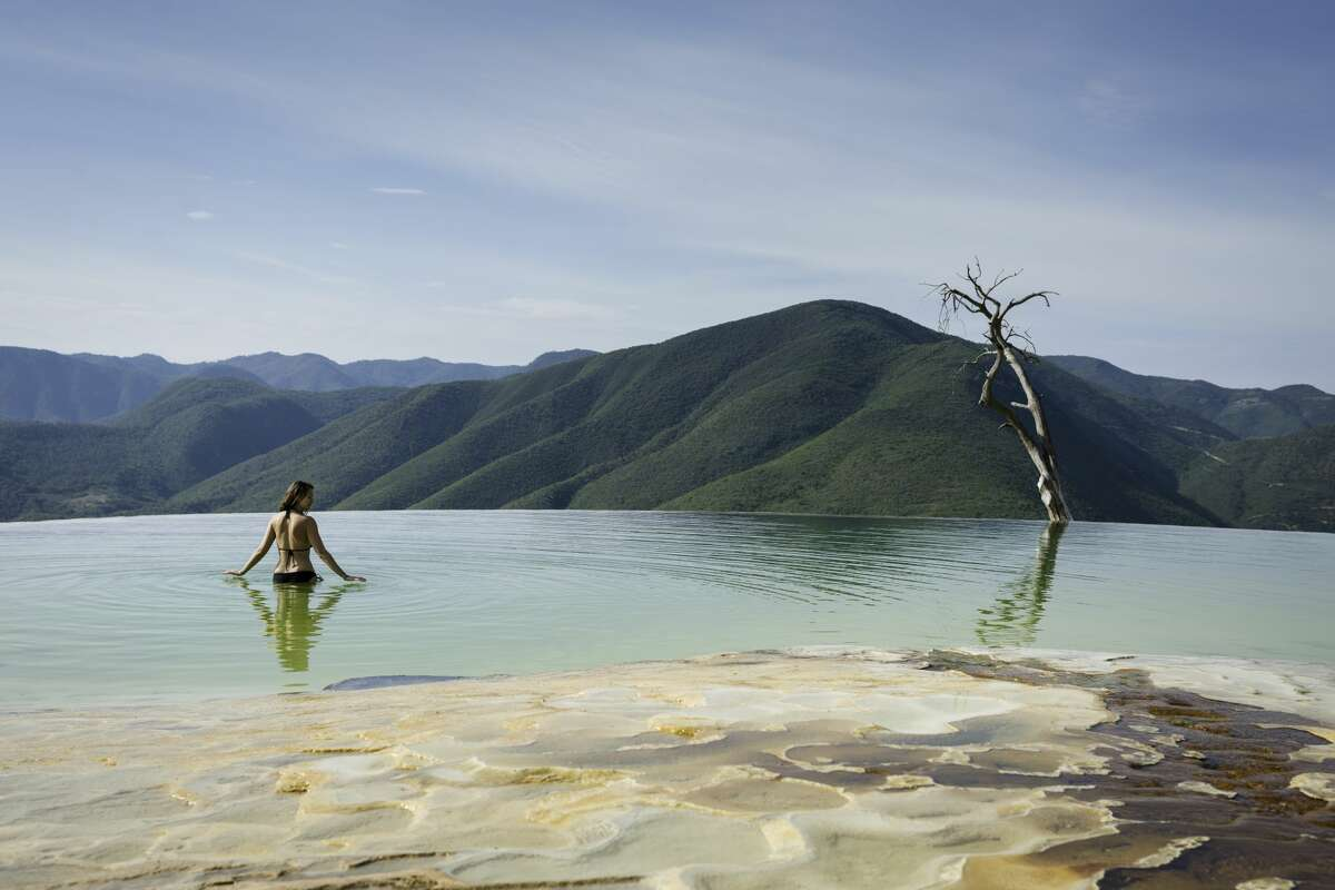 Hierve el Agua, natural rock formations in the Mexican state of Oaxaca.
