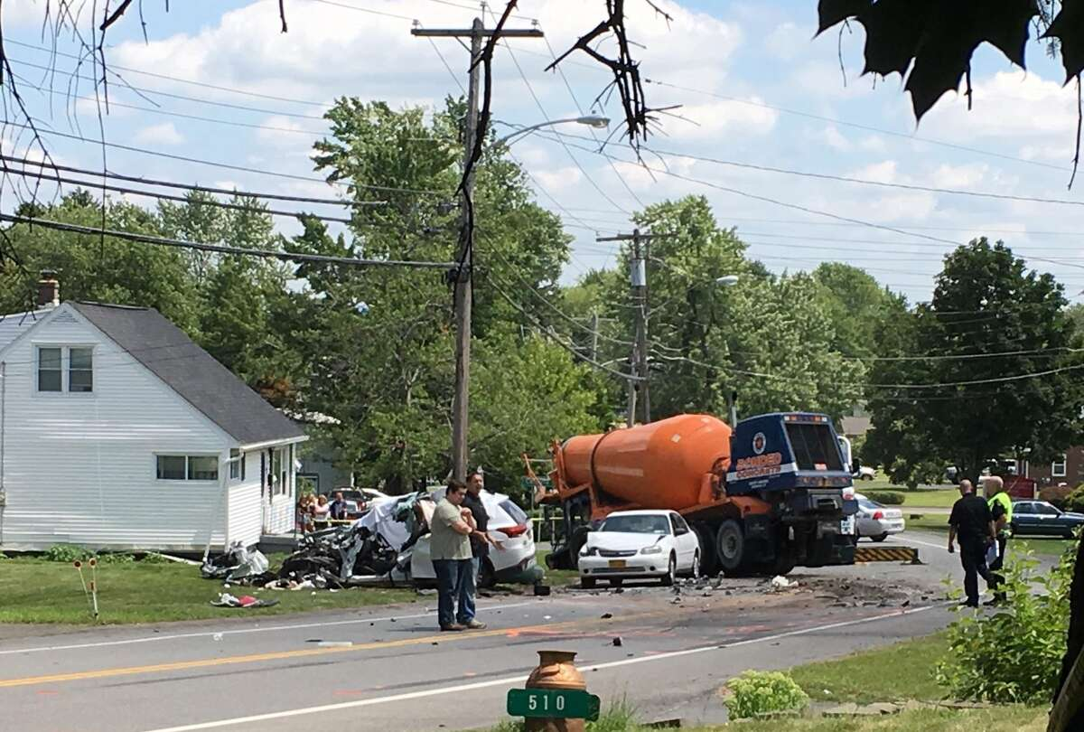 One person was killed in a collision that involved a cement mixer and two cars on Saturday July 13, 2019, in Colonie.