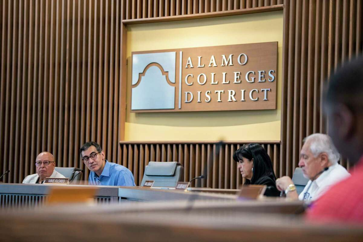 Alamo Colleges is moving forward with a center that will offer English language programs, help with GED tests and workforce training. Chancellor Mike Flores speaks at a recent meeting.