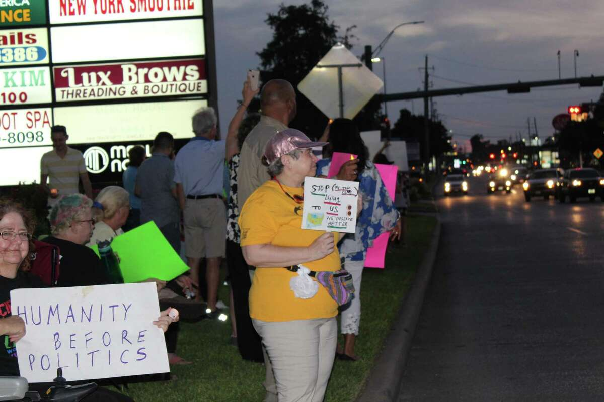 Most of the protesters had homemade signs with varying slogans and sayings, including