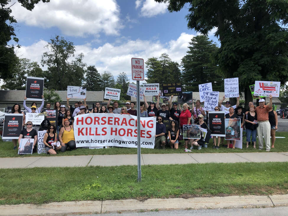 Several dozens protest the sport of horseracing on Saturday, July 13, 2019, at the Saratoga Race Course. (Courtesy Horseracing Wrongs)