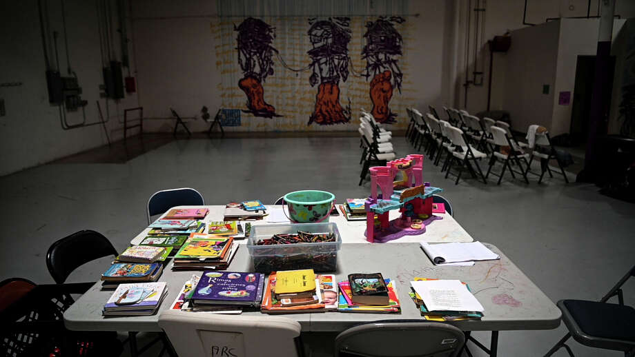 A children's art station sits empty at the Casa del Refugiado in El Paso on July 11. Photo: Washington Post Photo By Carolyn Van Houten / The Washington Post