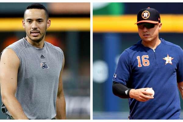 Split photo of Astros' Carlos Correa and Aledmys Diaz.