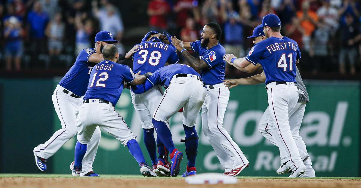 PHOTOS: Astros game-by-game Texas Rangers' Danny Santana (38) is congratulated by teammates after hitting a walk-off single to end a baseball game against the Houston Astros, Friday, July 12, 2019, in Arlington, Texas. Texas won 9-8. (AP Photo/Brandon Wade) Browse through the photos to see how the Astros have fared in each game this season.