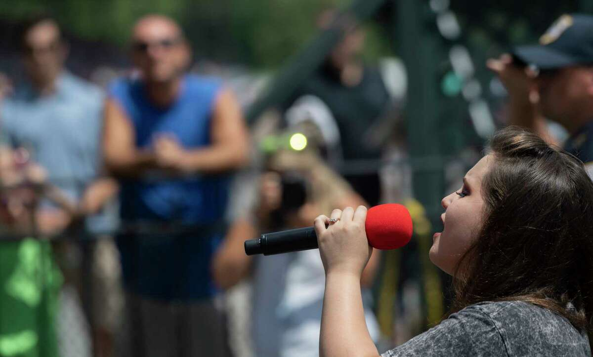 Local American Idol star Madison VanDenburg will sing on Wednesday, July 1, at the Malta Drive-In. Here, she sings at Saratoga Race Course. Special to the Times Union by Skip Dickstein