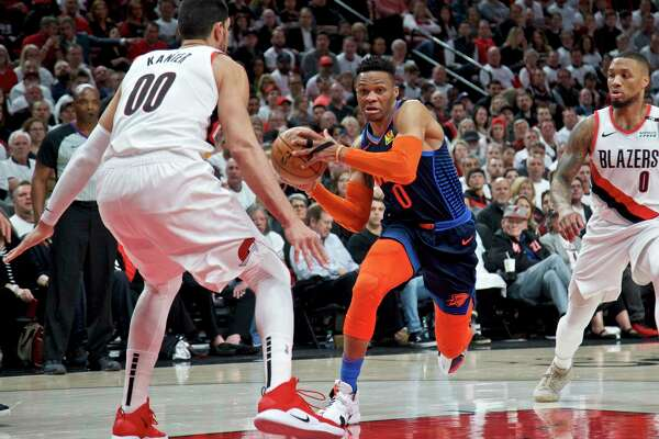 Russell Westbrook, right, excels at attacking a defense. Considering the Rockets' perimeter weapons, the guard should find plenty of space and seams to exploit.