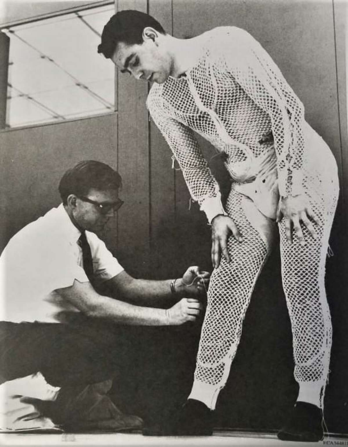 This 1964 photo from Collins Aerospace, a unit of United Technologies that includes the former Hamilton Standard business, shows an early prototype of the liquid cooling garment that Hamilton invented in Windsor Locks to help prevent astronauts from overheating inside the space suit.