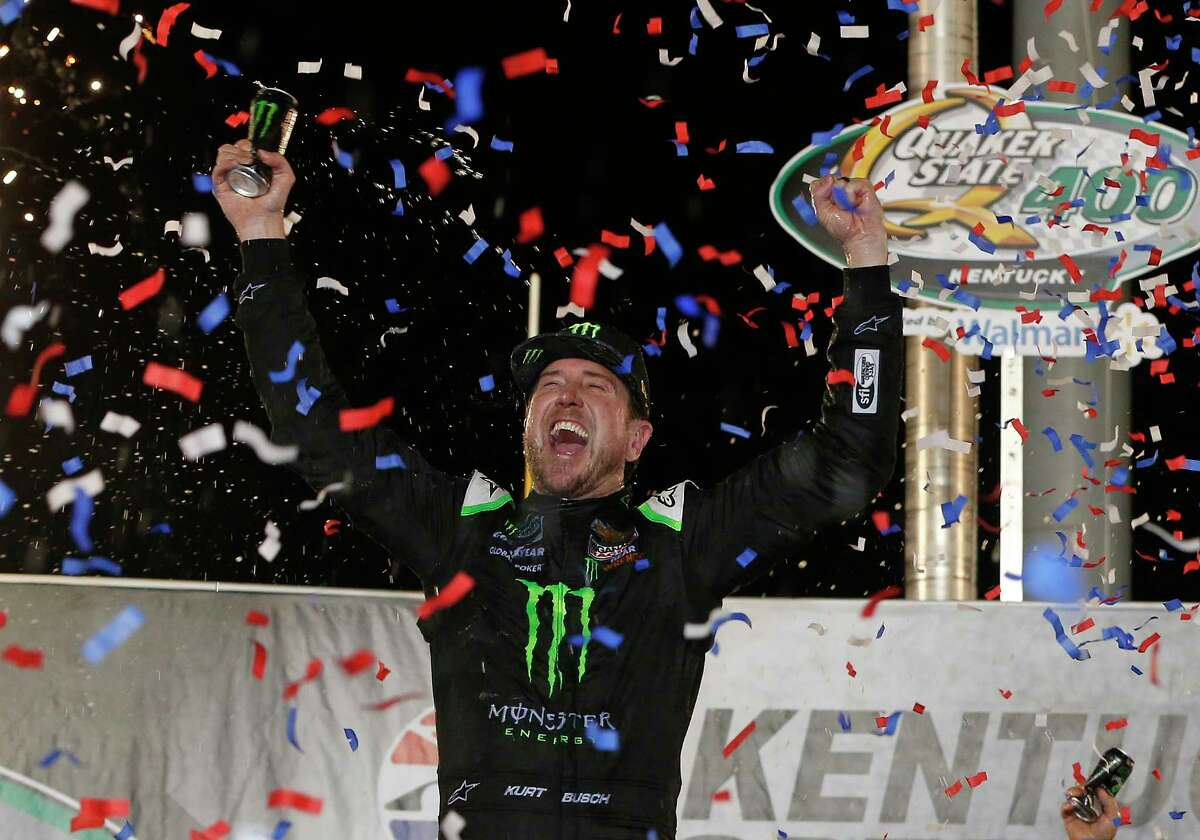 SPARTA, KENTUCKY - JULY 13: Kurt Busch, driver of the #1 Monster Energy Chevrolet, celebrates in Victory Lane after winning the Monster Energy NASCAR Cup Series Quaker State 400 Presented by Walmart at Kentucky Speedway on July 13, 2019 in Sparta, Kentucky. (Photo by Brian Lawdermilk/Getty Images)