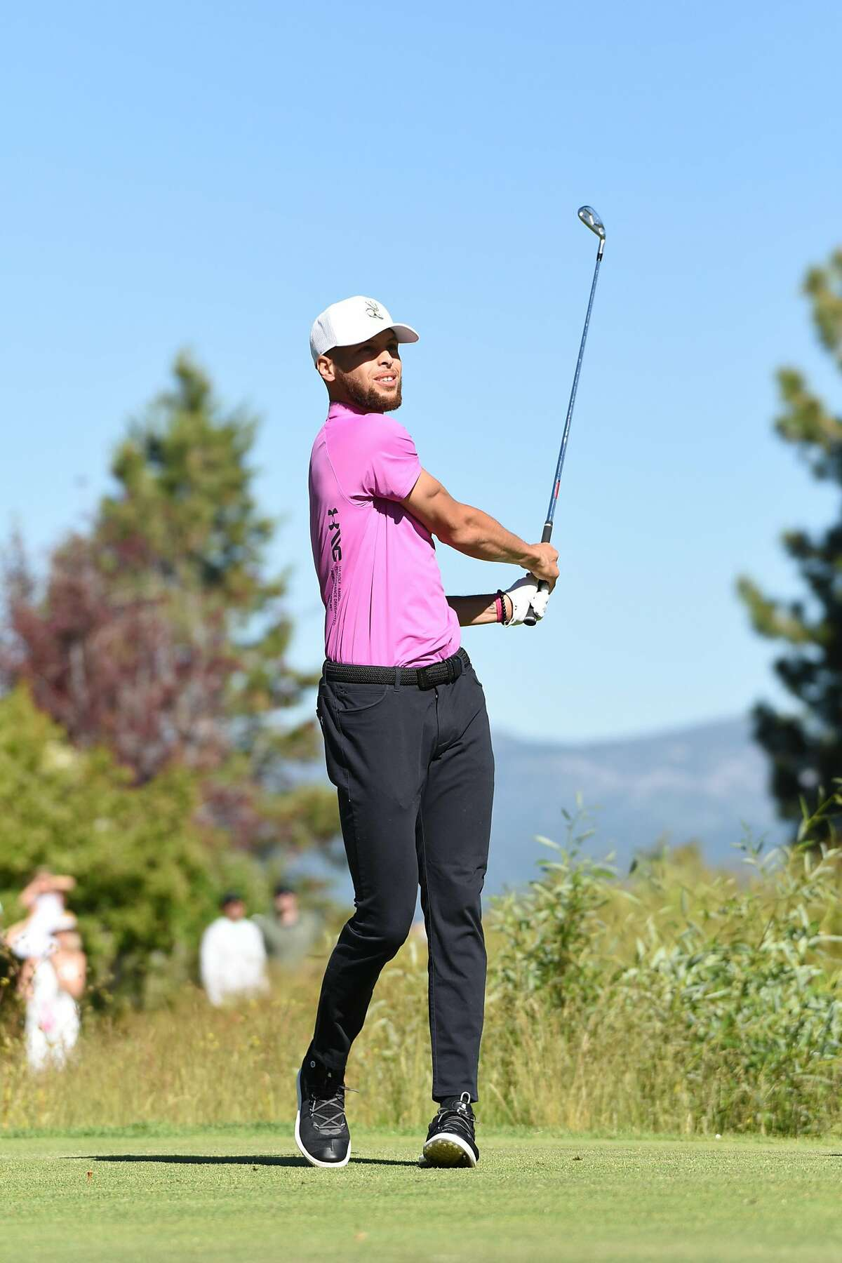 Steph Curry tees off on the first hole of the 2nd round of the American Century Championship at Edgewood Golf Course at Lake Tahoe Photo credit: Jeff Bayer/ American Century Championship