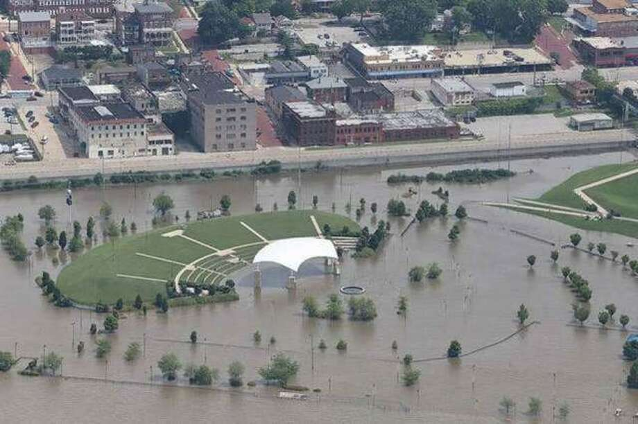 An aerial view of the Liberty Bank Alton Amphitheater during historic flooding this year. Photo: John Badman | Telegraph File Photo