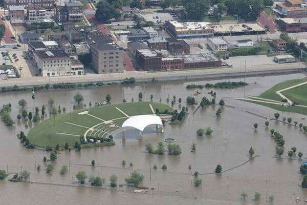 An aerial view of the Liberty Bank Alton Amphitheater during historic flooding this year.