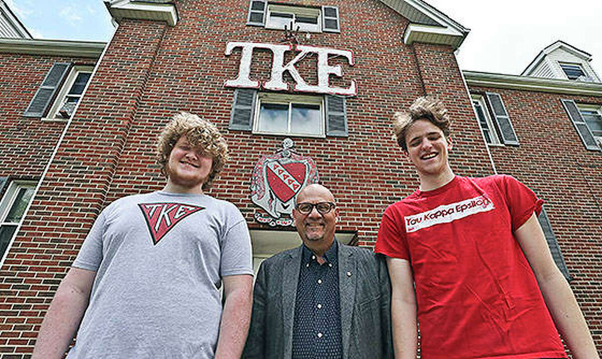 Tony Caccomo (center) talks with TKE members Greg Marshall (left) and Niall Sullivan at the TKE fraternity house on the campus of Millikin University. One of the largest fraternities in the country can trace its roots to the campus of Millikin University. Tau Kappa Epsilon - or TKE - was formed in 1899 at Illinois Wesleyan in Bloomington. Ten years later, the second chapter was created at Millikin.