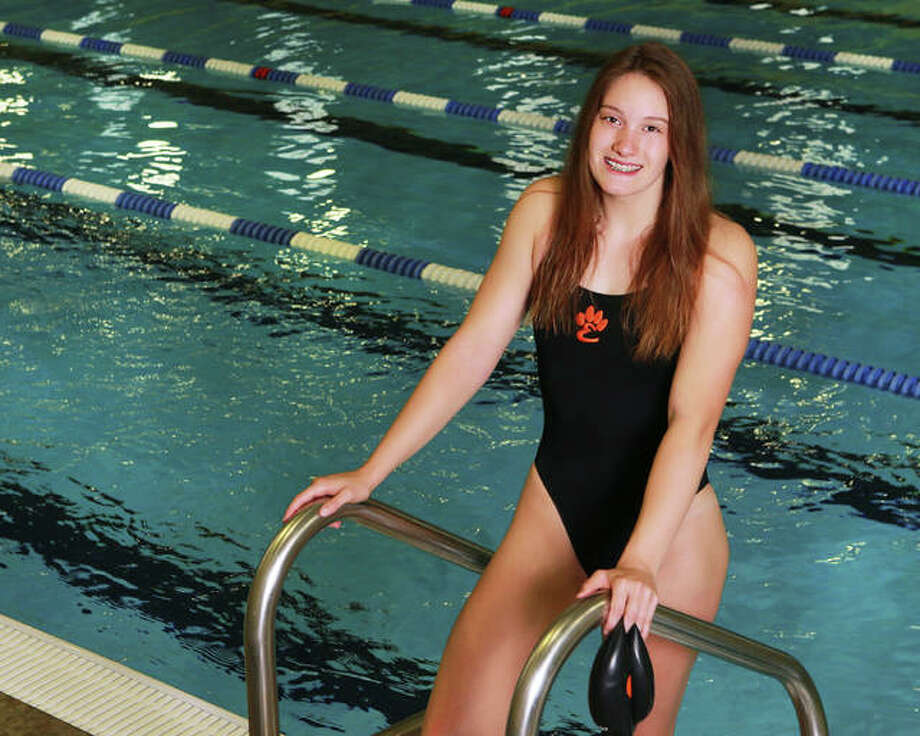 Edwardsville junior Josie Bushell qualified in half her team's eight events at the 2018 IHSA Girls State Swim Meet with a pair of first-place individual finishes and as a member of two first-place relay teams at the Springfield Sectional. She repeats as Telegraph Girls Swimmer of the Year. Photo: Billy Hurst | For The Telegraph