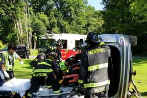 A driver was sent the hospital on Sunday, July 14, 2019 after a rollover crash in Westport.