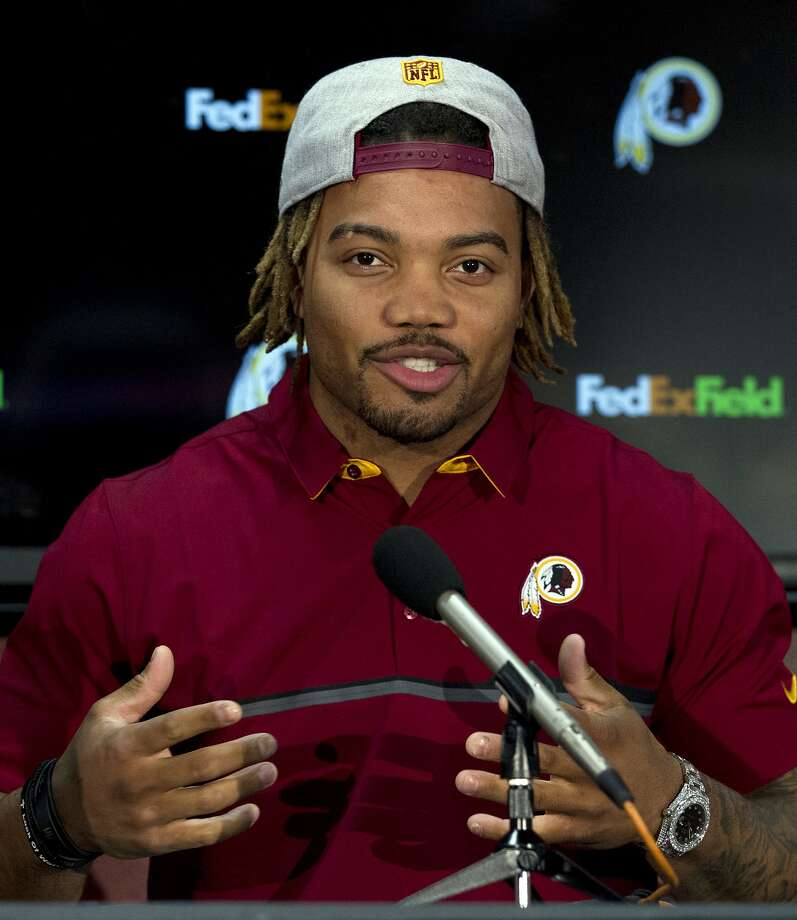 Redskins player Derrius Guice, second round selection of the 2018 NFL Draft, speaks at a news conference, during Redskins 2018 Draft Fest, in Landover, Md., Saturday, April 28, 2018. ( AP Photo/Jose Luis Magana) Photo: Jose Luis Magana, Associated Press