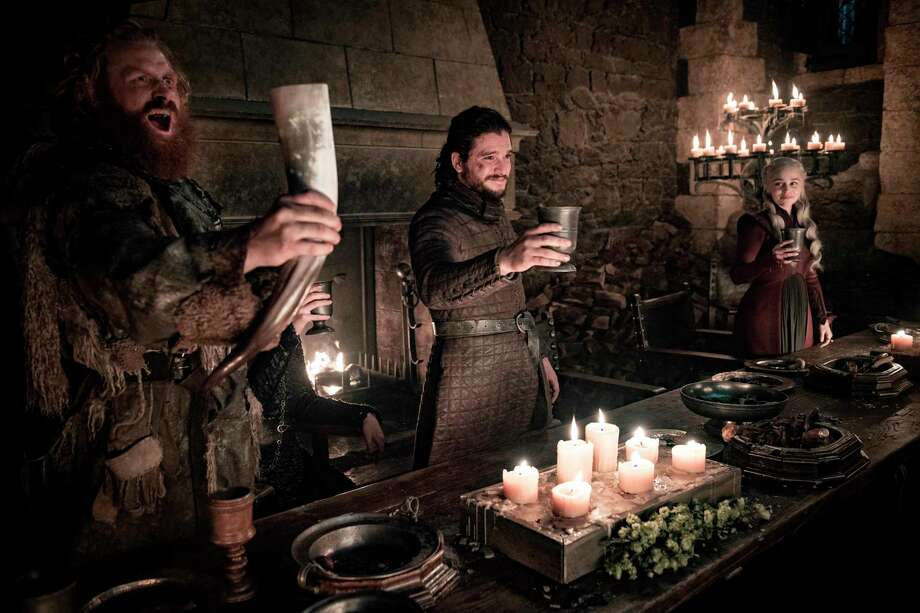 "This image released by HBO shows Kristofer Hivju, from left, Kit Harington and Emilia Clarke in a scene from ""Game of Thrones.""  ""Game of Thrones,"" ""Veep"" and ""The Big Bang Theory,"" three major series that wrapped last season, will find out with Tuesday's nominations if they have one more chance at Emmy gold. (Helen Sloan/HBO via AP) Photo: Helen Sloan / HBO"