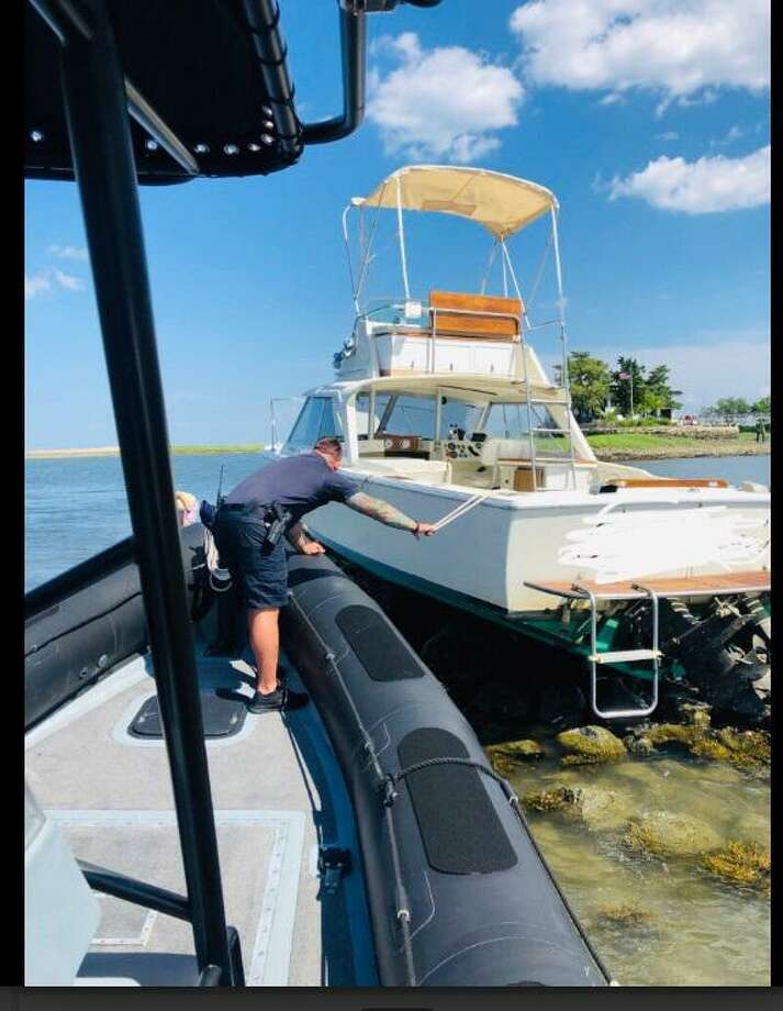 No one was injured in a boat accident the afternoon of July 14, 2019, according to a post on the Norwalk Police Department Twitter page. Photo: Contributed / Norwalk Police Department