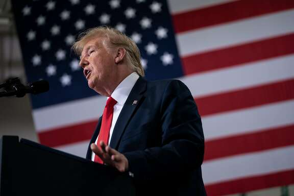 """President Donald Trump speaks during an event at a subsidiary of Lockheed Martin in Milwaukee, July 12, 2019. Trump weighed in via Twitter on the friction between a group of four freshman Democratic congresswomen and House Speaker Nancy Pelosi on July 14 by suggesting that the congresswomen — none of whom are white — should """"go back and help fix"""" the countries they came from. (Erin Schaff/The New York Times)"""