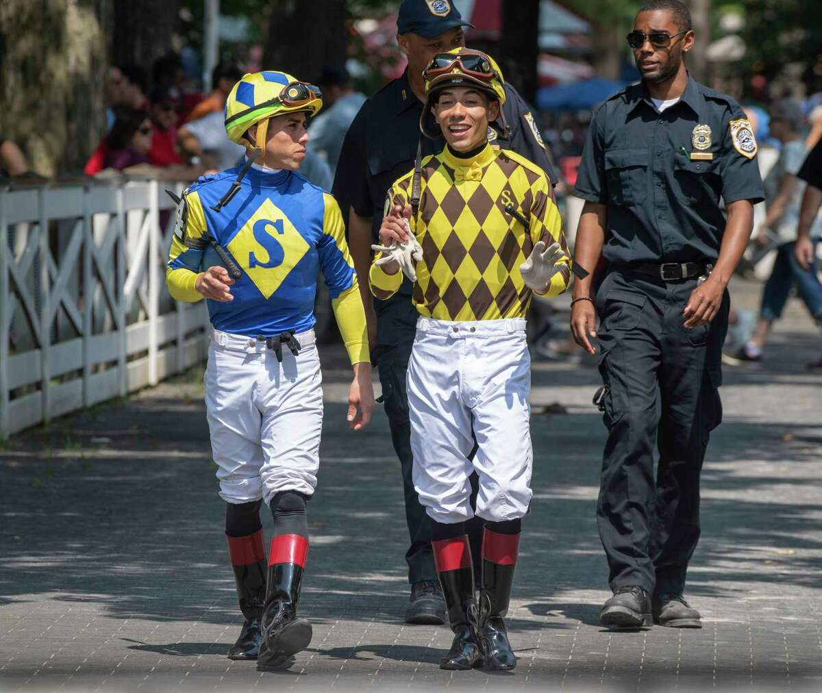 Irad Ortiz Jr, left enjoys some quality time with his brother Jose Ortiz before the fourth race at the Saratoga Race Course Sunday July 14, 2019 in Saratoga Springs, N.Y. Special to the Times Union by Skip Dickstein
