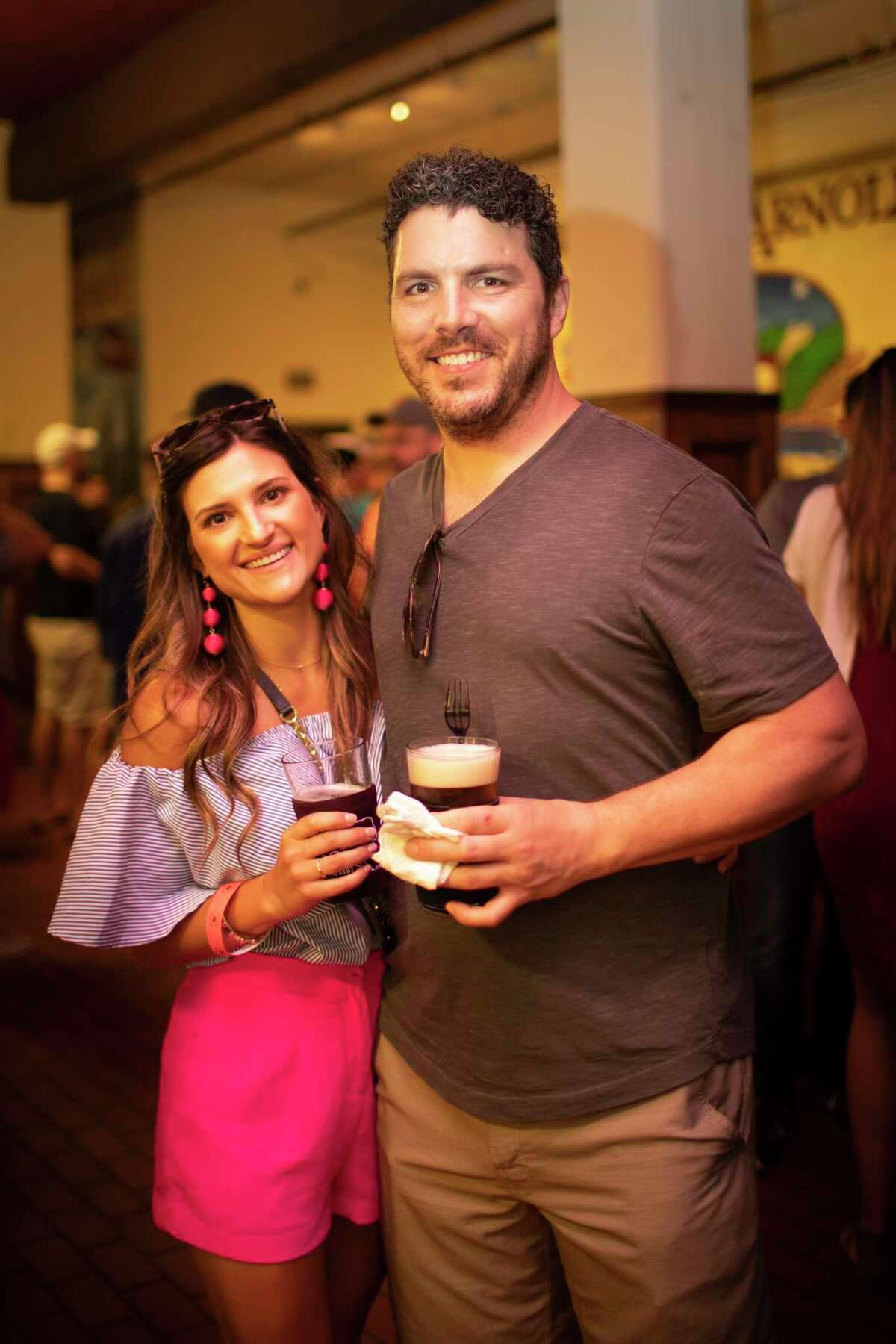 Guests and BBQ joints attend the Tex-Mex BBQ Block Party at the Saint Arnold Brewing Company on Sunday, July 14, 2019, in Houston.