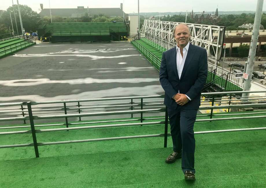 Mark Ein, owner of the Washington Kastles, is taking his franchise to the roof of a market to play matches starting Monday. Ein said the stadium will fit about 700 people, and all matches are sold out. Photo: Washington Post Photo By Matthew Gutierrez. / The Washington Post