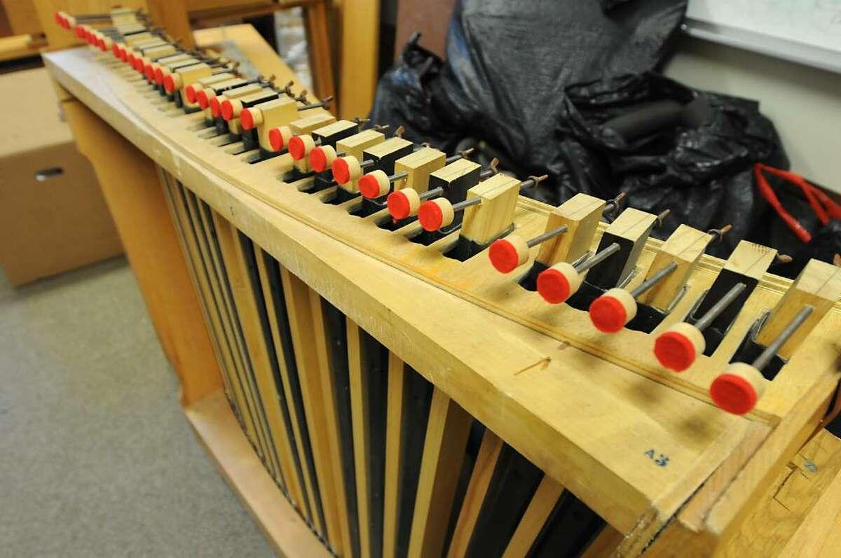 One of many Ruffatti organ parts held in one of many storage rooms at Doane Stuart School in Rensselaer. The Elsener Organ Work Inc. company is assembling the organ. (Lori Van Buren / Times Union)