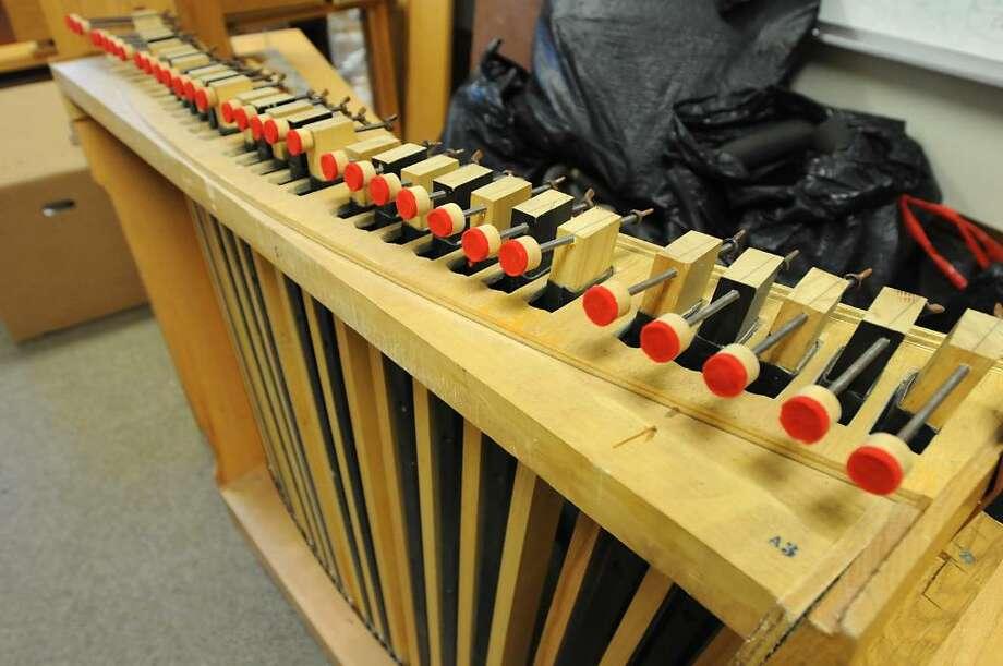 One of many Ruffatti organ parts held in one of many storage rooms at Doane Stuart School in Rensselaer. The Elsener Organ Work Inc. company is assembling the organ. (Lori Van Buren / Times Union) Photo: LORI VAN BUREN