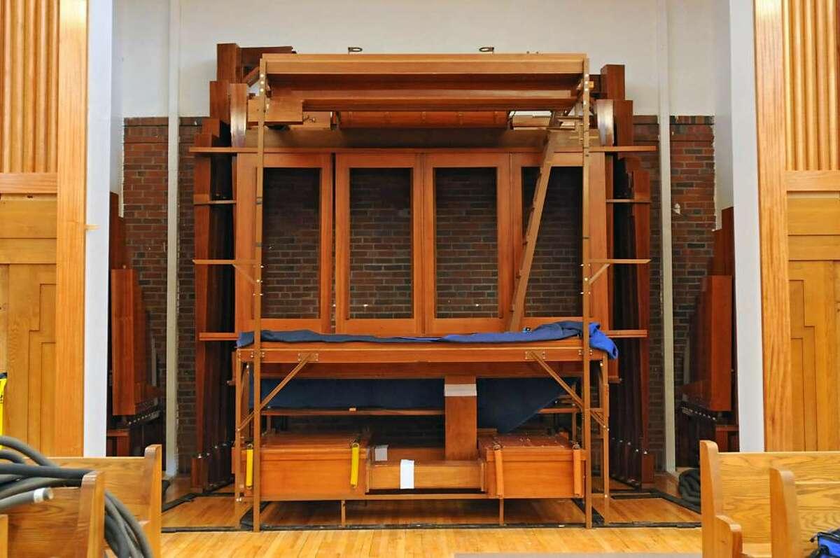 A Ruffatti organ in its beginning stage of installation in the chapel at Doane Stuart School in Rensselaer. (Lori Van Buren / Times Union)