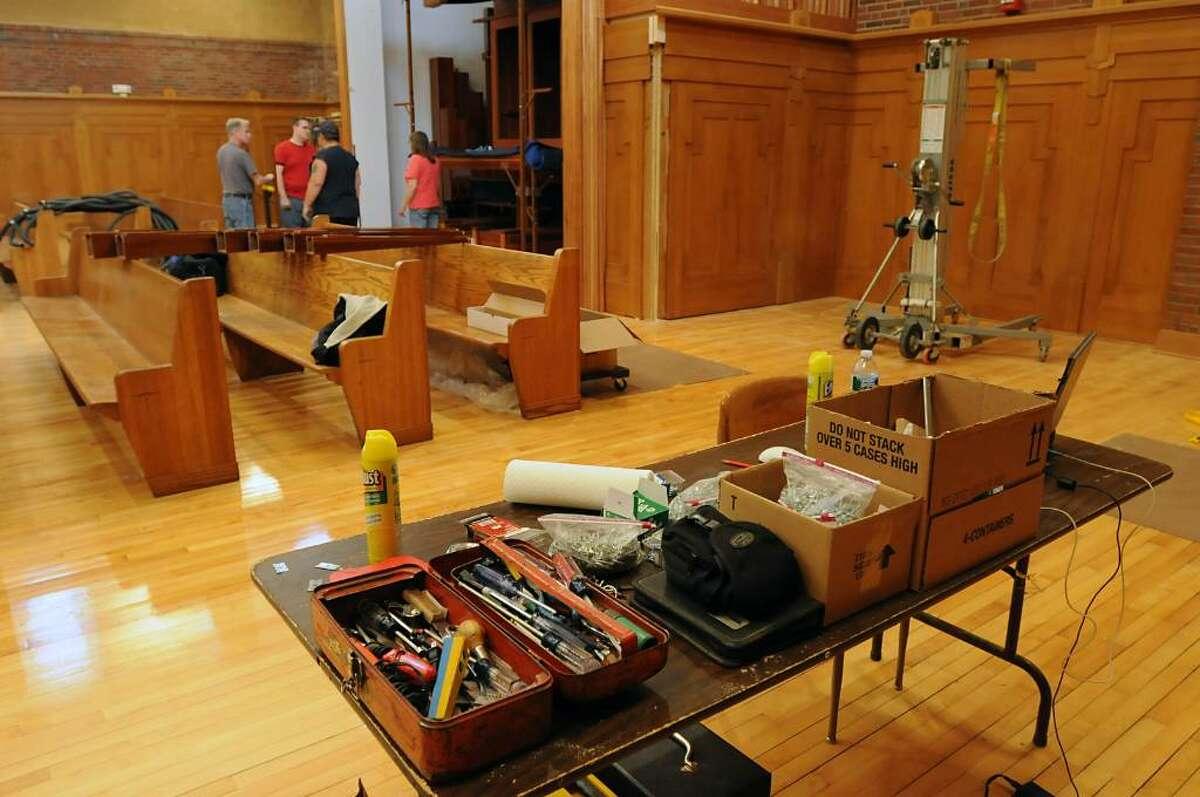 A Ruffatti organ in its beginning stage of installation (Lori Van Buren / Times Union)